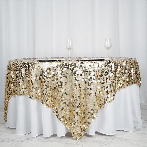 "90""x90"" Champagne Premium Big Payette Sequin Overlay - Clearance SALE"