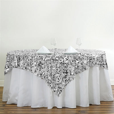 "90"" Premium Big Payette Sequin Overlay For Wedding Banquet Catering Party Table Decorations - Silver"