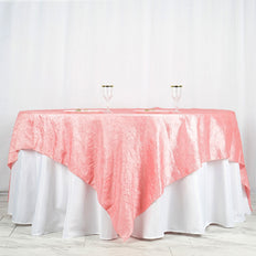 "90"" x 90"" Rose Quartz Crinkle Crushed Taffeta Square Tablecloth Overlay"