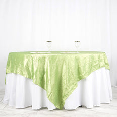 "90"" x 90"" Apple Green Crinkle Crushed Taffeta Square Tablecloth Overlay"