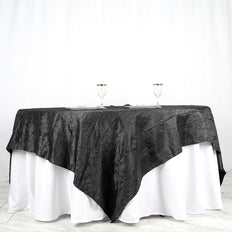 "90"" x 90"" Black Crinkle Crushed Taffeta Square Tablecloth Overlay"