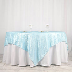 "90"" x 90"" Blue Crinkle Crushed Taffeta Square Tablecloth Overlay"