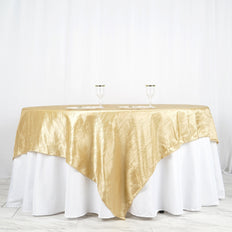 "90"" x 90"" Champagne Crinkle Crushed Taffeta Square Tablecloth Overlay"