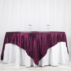 "90"" x 90"" Eggplant Crinkle Crushed Taffeta Square Tablecloth Overlay"