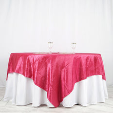"90"" x 90"" Fushia Crinkle Crushed Taffeta Square Tablecloth Overlay"