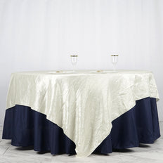 "90"" x 90"" Ivory Crinkle Crushed Taffeta Square Tablecloth Overlay"