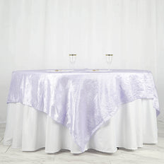 "90"" x 90"" Lavender Crinkle Crushed Taffeta Square Tablecloth Overlay"