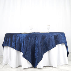 "90"" x 90"" Navy Blue Crinkle Crushed Taffeta Square Tablecloth Overlay - Clearance SALE"