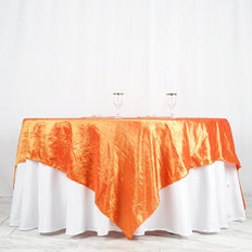 "90"" x 90"" Orange Crinkle Crushed Taffeta Square Tablecloth Overlay"