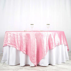 "90"" x 90"" Pink Crinkle Crushed Taffeta Square Tablecloth Overlay"