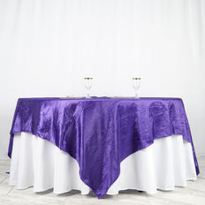 "90"" x 90"" Purple Crinkle Crushed Taffeta Square Tablecloth Overlay"