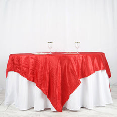 "90"" x 90"" Red Crinkle Crushed Taffeta Square Tablecloth Overlay"