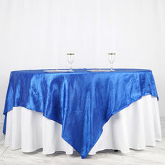 "90"" x 90"" Royal Blue Crinkle Crushed Taffeta Square Tablecloth Overlay"