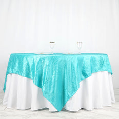 "90"" x 90"" Turquoise Crinkle Crushed Taffeta Square Tablecloth Overlay - Clearance SALE"