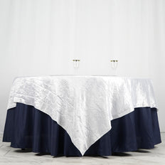"90"" x 90"" White Crinkle Crushed Taffeta Square Tablecloth Overlay"