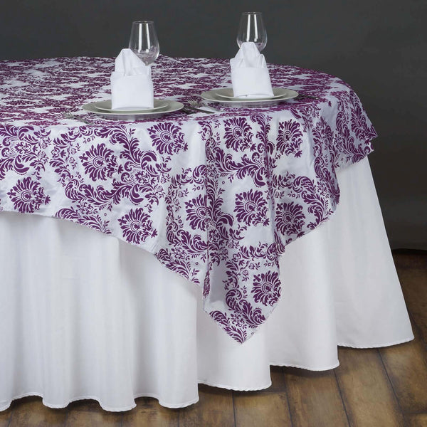 "90"" x 90"" Eggplant Flocking Table Square Overlay"