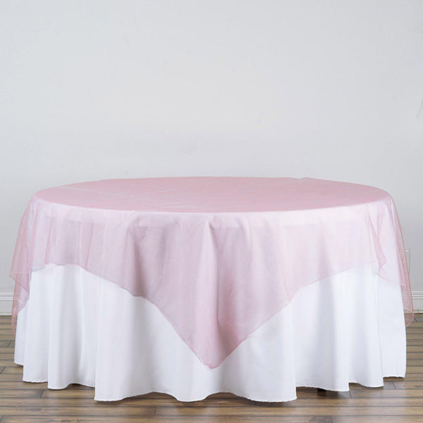 "90"" x 90"" Rose Quartz Organza Table Square Overlay - Clearance SALE"