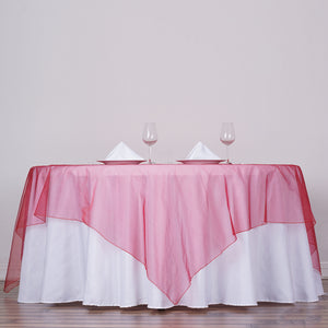 "90"" x 90"" Wine Organza Table Square Overlay"