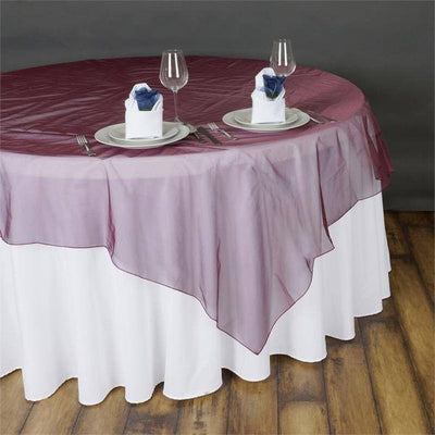 "108"" x 108"" Square Burgundy Sheer Organza Overlay"