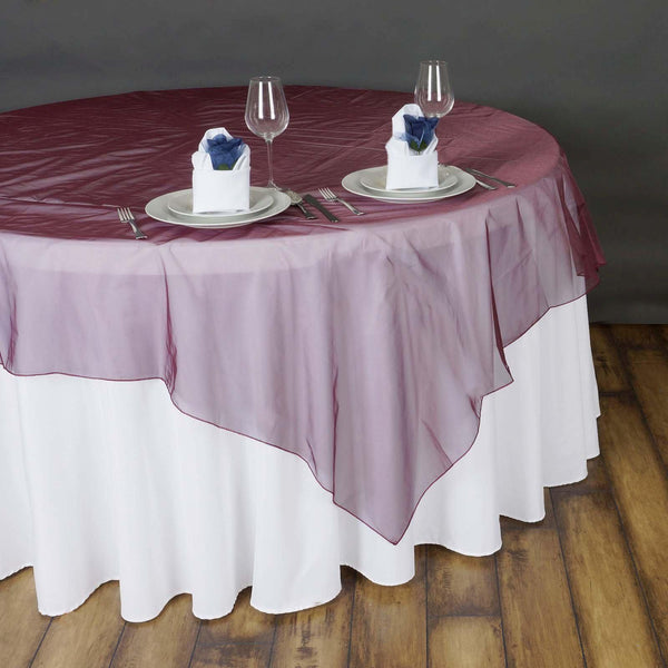 "90"" x 90"" Burgundy Organza Table Square Overlay"