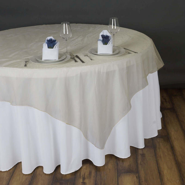 "90"" x 90"" Champagne Organza Table Square Overlay"