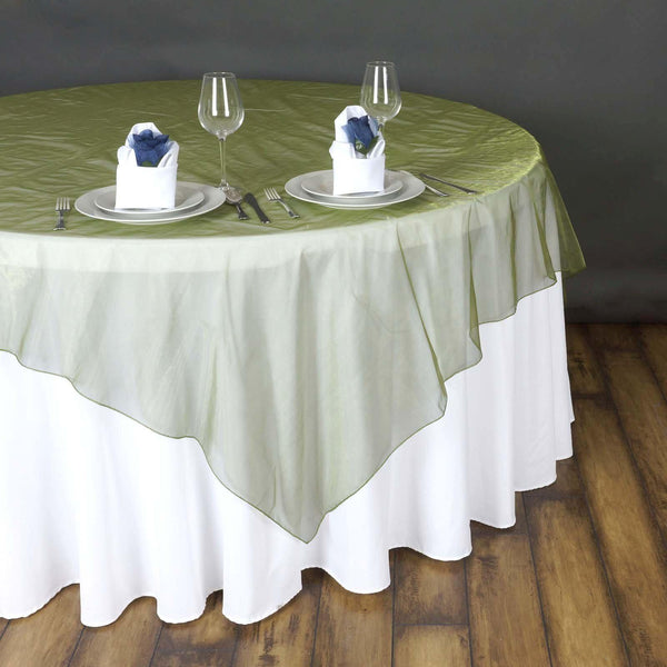 "90"" x 90"" Moss Green Organza Table Square Overlay"