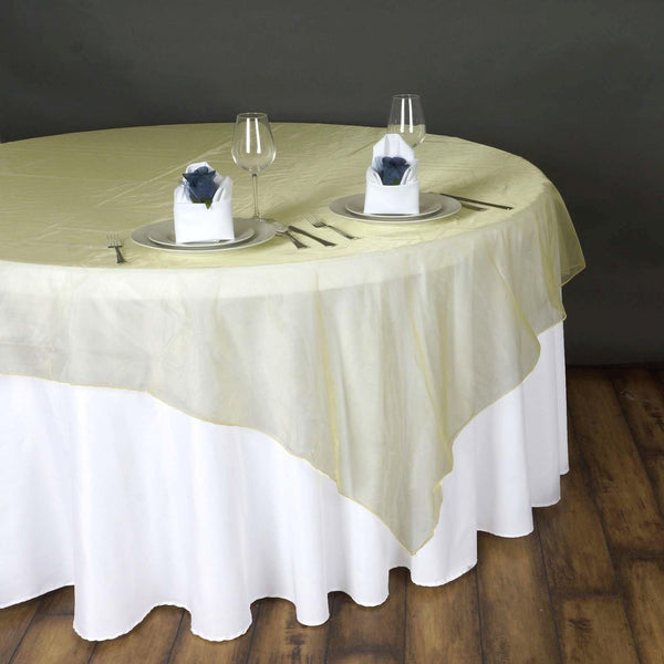 "90"" x 90"" Yellow Organza Table Square Overlay"
