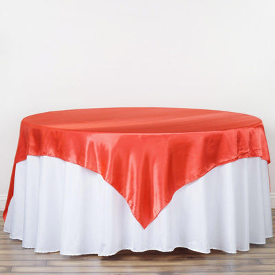 "90"" SATIN Square Overlay For Wedding Catering Party Table Decorations - CORAL"