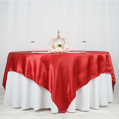 "90"" x 90"" Wine Seamless Satin Square Tablecloth Overlay"