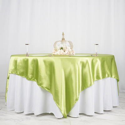"90"" x 90"" Apple Green Seamless Satin Square Tablecloth Overlay"