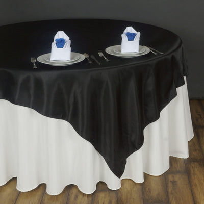 "90"" SATIN Square Overlay For Wedding Catering Party Table Decorations - BLACK"