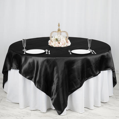 "90"" x 90"" Black Seamless Satin Square Tablecloth Overlay"
