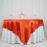 "90"" x 90"" Burnt Orange Seamless Satin Square Tablecloth Overlay"
