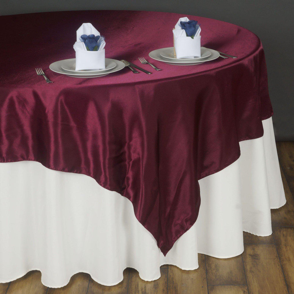 90 Quot Burgundy Seamless Satin Square Tablecloth Overlay