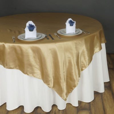 "90"" SATIN Square Overlay For Wedding Catering Party Table Decorations - CHAMPAGNE"