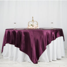 "90"" x 90"" Eggplant Seamless Satin Square Tablecloth Overlay"