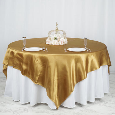 "90"" x 90"" Gold Seamless Satin Square Tablecloth Overlay"