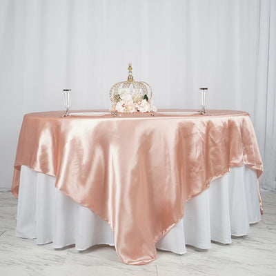 "90"" x 90"" Dusty Rose Seamless Satin Square Tablecloth Overlay"