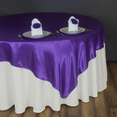 "90"" SATIN Square Overlay For Wedding Catering Party Table Decorations - PURPLE"