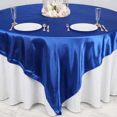 "90"" x 90"" Royal Blue Seamless Satin Square Tablecloth Overlay"
