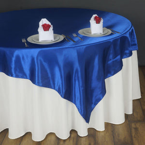 "90"" SATIN Square Overlay For Wedding Catering Party Table Decorations - ROYAL BLUE"