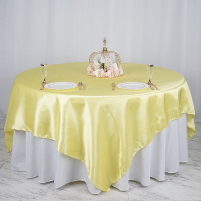 "90"" x 90"" Yellow Seamless Satin Square Tablecloth Overlay"