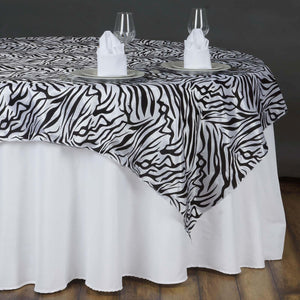 "90""x90"" Taffeta Overlay Zebra Animal Print For Wedding Party Banquet Event Restaurant - Black/White"