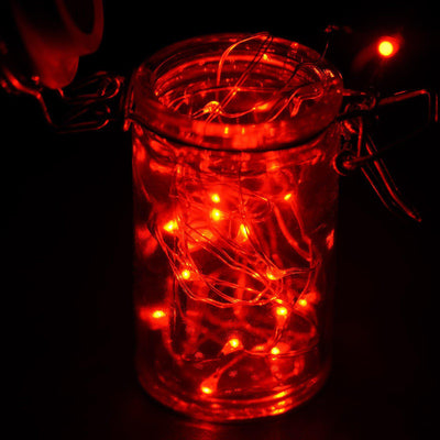 7.5 FT Red Starry String Lights Battery Operated with 20 Micro Bright LEDs