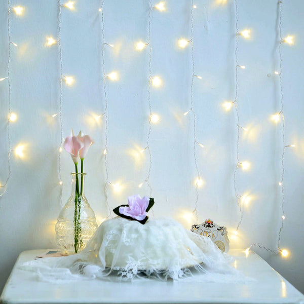 5FT 12 Strings | Warm White 7 Mode Sequence Fairy Led String Lights Backdrop with 96 Bright LEDs