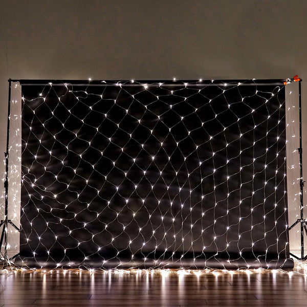 20FT x 10FT | 600 Clear LED Net Lights Fishing String With 8 Lighting Modes