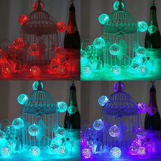 6 Ft 15 Color Changing Battery Operated Disco Mirror Ball LED String Lights