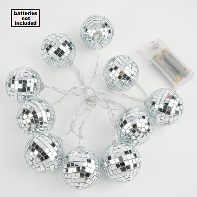 6 Ft 10 Warm White Battery Operated Disco Mirror Ball LED String Lights