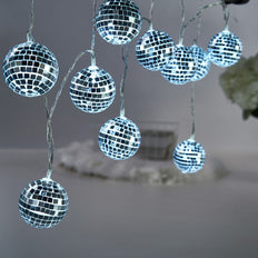 6FT | 10 Cool White Battery Operated Disco Mirror Ball LED String Lights