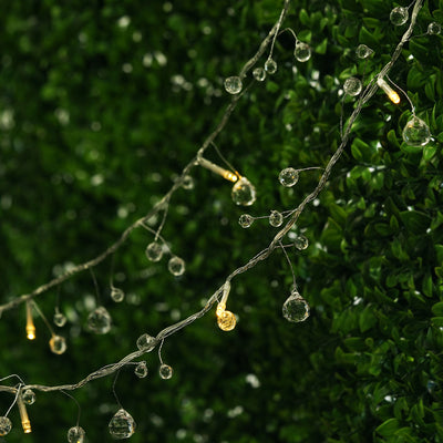 6 Ft 10 White LED Battery Operated Acrylic Crystal Beads String Light